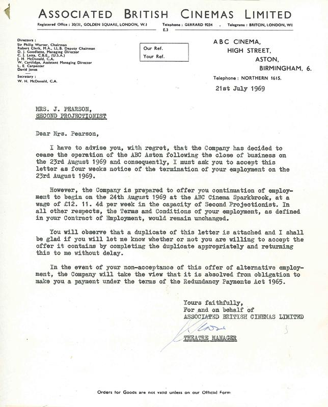 Notice of closure - Aston Cinema, Birmingham